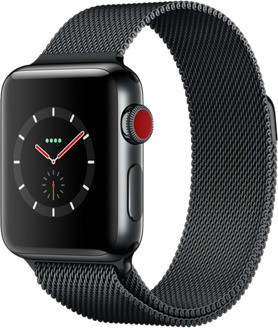 Apple Watch Series 3 38 mm edelstaal zwart met Milanees bandje zwart [wifi + cellular]