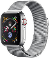 Apple Watch Series 4 40 mm edelstaal zilver met milanese armband [wifi + cellular] zilver