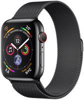 Apple Watch Serie 4 44 mm alloggiamento in acciaio inossidabile space nero am Bracciale milanese space nero [Wi-Fi + Cellular]