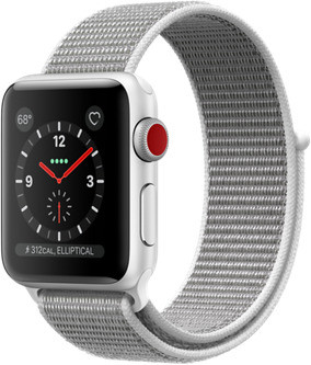 Apple Watch Series 3 38mm Caja de aluminio en plata con correa Loop deportiva nácar [Wifi + Cellular]