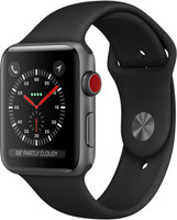 Apple Watch Series 3 42 mm aluminium spacegrijs met sportarmband zwart [wifi + cellular]