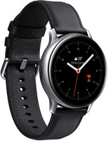 Samsung Galaxy Watch Active2 44 mm Caja de acero inoxidable plata con correa de piel negra [Wifi + 4G]