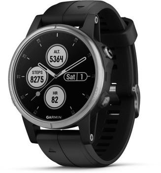 Garmin Fenix 5S Plus 42 mm zilver met siliconen armband zwart [wifi]