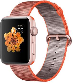 Apple Watch Series 2 42mm cassa in alluminio oro rosa con cinturino in nylon intrecciato arancione antracite [Wifi]