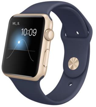 Apple Watch Sport 42 mm goud met sportbandje donkerblauw [wifi]