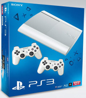 Sony Playstation Super Slim 12Go SSD Blanche [incl. deux manettes sans fil blanches]